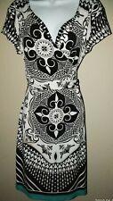 Nicole Miller Damask V-Neck Cap Sleeve Dress Size L Black/White/Teal Border CUTE