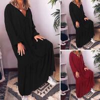 Women Oversize Long Dress V Neck Long Sleeve Sexy Casual Plain Dresses Plus Size