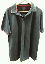 James Pringle Navy Blue Polo Shirt Size Large Striped Red and White <C2242