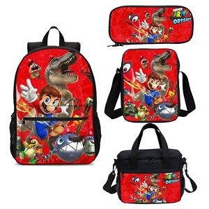 Super Mario Bro Kids Backpack Boys School Bag Insulated Lunch Bag Pen Case Lot