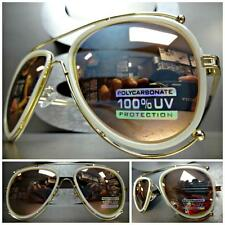 CLASSIC VINTAGE RETRO Style SUN GLASSES SHADES Gold & Pearl White Fashion rame