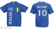 T-SHIRT BAMBINO BAMBINA ITALIA con NOME e NUMERO personalizzati CALCIO maglietta