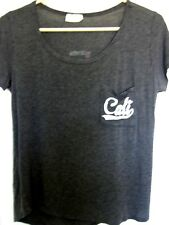 "Juniors Dark Heather Gray Scooped Neck Rayon ""Cali"" T-Shirt Top Size L"
