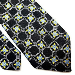 Robert Talbot Best Of Class Silk Tie Black Floral Geometric Woven
