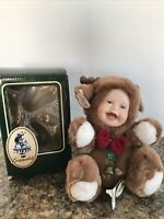 "Geppeddo Cuddle Kids Russell Reindeer  Plush 2000 with Porcelain Face 9"" Rare!!"