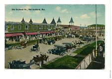 1918 PC: Huge Amount of Autos Lined Up on Old Orchard St, Old Orchard, Maine
