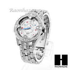 NEW MEN'S FULL ICED OUT HIP HOP BLING LUXURY WHITE GOLD WRIST DRESS WATCH MM06S