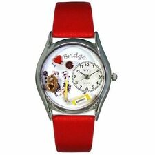 Whimsical Watches Bridge Red Leather and Silvertone Unisex Quartz Watch With