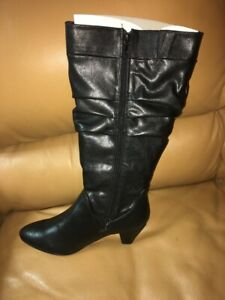 Comfortview Shiny Black Knee High Wide Calf Boots Size 9W