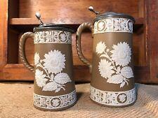 Pair of Antique English 19th Century Barware Jugs Pewter Lids