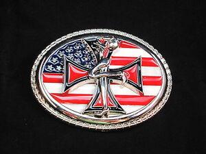 US Flag Buckle Iron Cross Belt Buckle Leather Belt For Change Belt