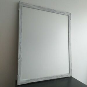 Large White& Grey Marble Effect Wall Mirror Hallway living roomRectangle Mirror