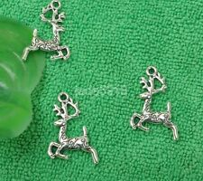 40pcs Tibetan silver charms deer double carving flower pendant necklace pendant