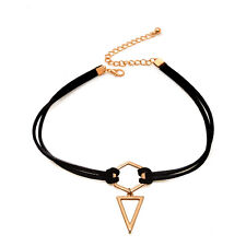 Rose Gold Plated Triangle Pendant Geometry Choker Necklace Black Leather Wrap