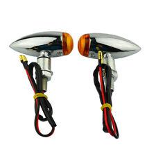 Chrome Mini Bullet Turn Signal Light Indicator Blinker For Harley Cafe Racer