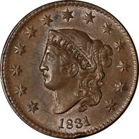 1831 Large Cent Large Letters BU Details N.7 R.1 Superb Eye Appeal