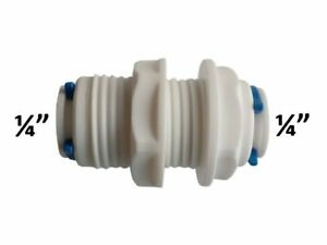 """1 x ¼"""" inch Bulkhead Pushfit Connectors for Water Filters Fridge Freezers and RO"""