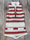 Janie and Jack Size 3 High Neck Red White Blue Striped One Piece Retro Swimsuit