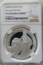SILVER 1OZ UNA AND THE LION 2020 ST. HELENA NGC PF70 Ultra Cameo