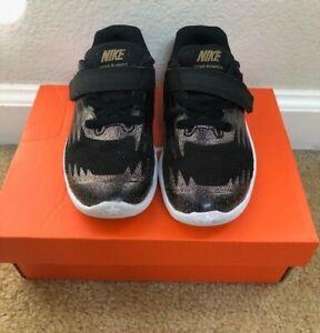Nike Star Runner SH (TDV) Black/Gold/White Toddler Girl's Sneakers Size 9C
