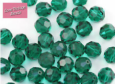 4x Swarovski Crystal 5000 Emerald 12mm Round Green Vintage Beads - Original Box