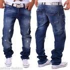 Pantalones Vaqueros De Hombre Ajuste Recto Cargo Pitillo Clubwear Estilo Azul