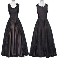 Retro Victorian Black Formal Dress Gown Gothic Steampunk Lace&Satin Costume