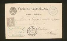B23 - SWITZERLAND - 1877 POSTAL CARD, FONTAINES, STRASSBURG-ELSASS & PHARMACY