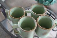 4 Frankoma Green Coffee Mugs Pottery Oklahoma Dinnerware