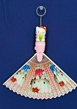RARE Vintage Sanrio HELLO KITTY ANGELS Pink Folding HAND FAN Keychain Japan NEW