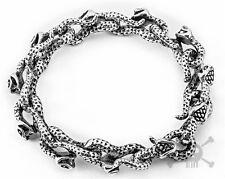 "【from USA 】Punk Rocker Biker Monster Snack Silver 8.5"" Stainless Steel Bracelet"