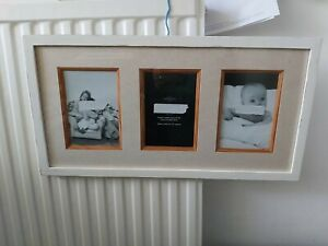 """Cream Shabby chic painted  hanging oak frame. Holds 3 x photos 4 """" x 6"""""""