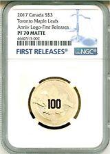 2017 Canada $3 Toronto Maple Leafs Anniversary Logo 100th Ann. FR NGC PF70 Matte