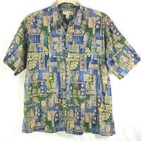 Tori Richard Hawaiian Shirt Blue Tropical Pineapples Camp Aloha Cotton Lawn XL