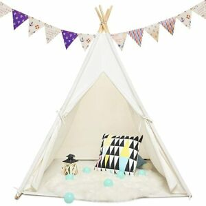 White Large Canvas Kids Teepee Tent Children Baby Indoor Outdoor Play House Gift