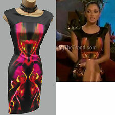 Karen Millen Celebrity Kaleidoscope Print Cocktail Wiggle Pencil Dress 12 UK 40