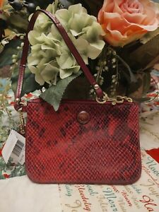 New Coach Burgundy Patent Leather Wristlet Embossed Small Purse Bag