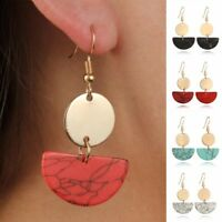 Geometric Resin Statement Earrings Marble Acrylic Dangle Earring Jewelry Boho -O