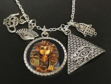 "Egyptian King Tut Pharaoh Pyramid Charm Tibetan Silver with 18"" Necklace Mix A"