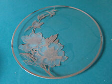 "CRYSTAL ROUND TRAY SILVER OVERLAY FLOWERS 13"" [*GLASS4]"