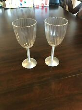 Set of Two Plastic Wine Glasses with Metal Stems and Bases