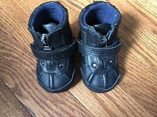 New POLO RALPH LAUREN Boys Black Leather Boots Baby & Toddler US SZ 1