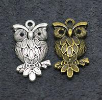 charms Tibetan silver find Beautiful trendy owl pendant  2.2g 30X15mm