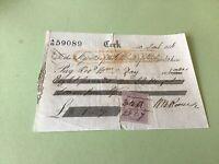 Cork 1856 Bank of ireland Cheque receipt & revenue stamp Ref R32154