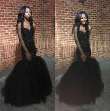 Black Girls Mermaid Prom Dress Crystal Beaded Pageant Formal Evening Party Gowns