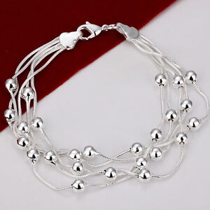 Silver Plated 925 Solid Beaded Multi Layered Snake Chain Bracelet Bangle GIFT