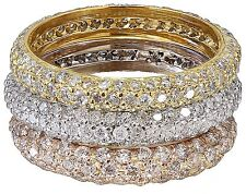 Three Eternity Diamonds Bands Bridal 2.55Ct 14K White Rose Yellow Gold Round Cut