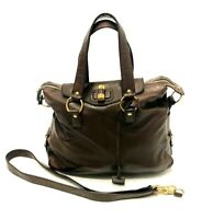 Yves Saint Laurent YSL Brown Leather Rive Gauche Satchel Bag