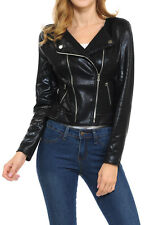 Womens Modern Casual Asymmetrical Long Sleeve Zip Up Moto Jacket