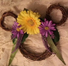 New listing Mickey Mouse Inspired Wreath with Purple and Yellow Flowers